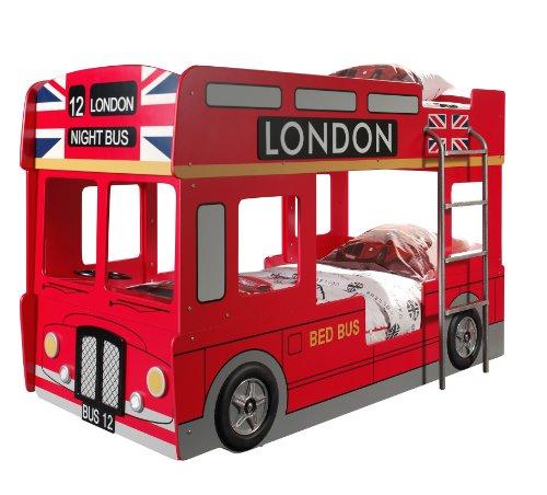 *VIPACK SCBBLB Autobett London Bus Etagenbett, circa 215 x 132 x 100 cm, 2 Liegeflächen 90 x 200 cm, lackiert aufgedruckte London-Bus Optik, rot*