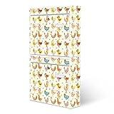 BANJADO Briefkastenanlage 2 fach | Stahl weiß mit 2 Briefkästen | Doppelbriefkasten 36x64x10cm | inklusive Namensschild | Wandmontage mit Motiv Lustige Vögel