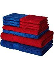 Solimo 100% Cotton 10 Piece Towel Set, 500 GSM (Iris Blue and Spanish Red)