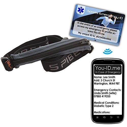 Running Gürtel für Mobiltelefon Taille Tasche Pack rutschfeste gratis 20£ Läufer Notfall ID Karte aus Sie ID Me, grau