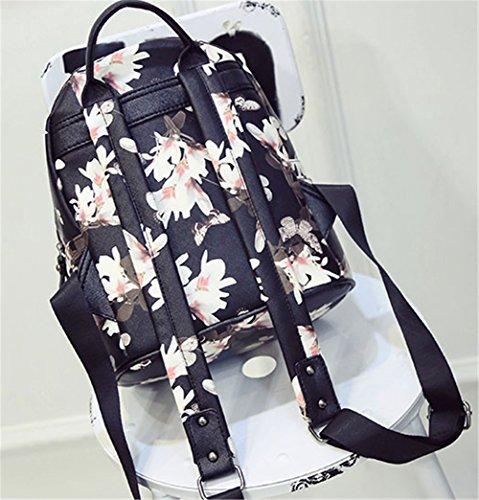 tellw Damen Mädchen Freizeit Reisen Shopping Rucksack Tasche - Flower