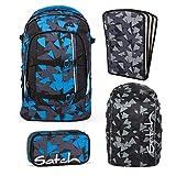 Satch PACK Blue Triangle 4er Set Schulrucksack + Schlamperbox + Regencape + Triple Flex schwarz