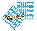 Party Palast Oktoberfest Décoration 6 Serviettes de Table en Papier Bleu Blanc Motif Bavière 33 x 33 cm