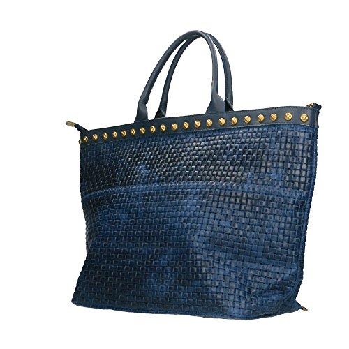 Borsa a Mano da Donna Stampa Intrecciata con Tracolla in Vera Pelle Made in Italy Chicca Borse 53x34x20 Cm Blu