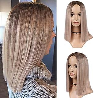 HANNE Ombre Perruques synthétiques pour femmes Longueur épaules Résistantes à la chaleur Perruque complète à porter au quotidien