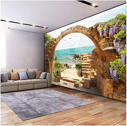 Wandbild Benutzerdefinierte Wandbild Tapete Garten Stein Bögen Meerblick 3D Fototapete Für Wohnzimmer Sofa Schlafzimmer Hintergrund Große Wandbilder -