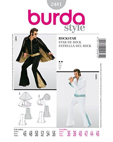 Burda 2481 Schnittmuster Kostüm Fasching Karneval Rockstar Elvis (Herren, Gr. 46 - 56) Level 2 leicht