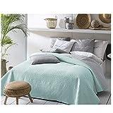 JEMIDI Bett und Sofaüberwurf XL Doppelbett gesteppt 220 x 240 Tagesdecke Überwurf Husse Decke XXL Tagesdecken Steppdecke gesteppt (Mint/Grau)