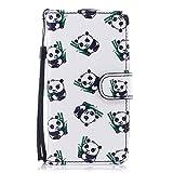 Wiko Rainbow Jam 4G Hülle, Chreey Schöne Persönlichkeit PU Leder Schutzhülle mit Bunte Muste Flip Case Handyhülle mit Standfunktion Kartenfächer Brieftasche Hülle [Panda]