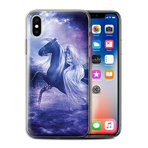 Officiel Elena Dudina Coque / Etui Gel TPU pour Apple iPhone X/10 / Feu et d'Acier Design / Super Héroïne Collection Amazona
