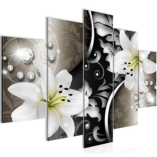 Bilder Blumen Lilien Wandbild 150 x 100 cm Vlies - Leinwand Bild XXL Format Wandbilder Wohnzimmer Wohnung Deko Kunstdrucke Braun 5 Teilig - MADE IN GERMANY - Fertig zum Aufhängen 208053a