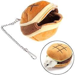 Lunji Hamburger estilo felpa hámster nido, colgante cama Swing juguetes para ardilla ratón pequeño animal jaula juguete