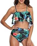Misolin Damen Bikini Set High Waist Ruffles Bademode Zweiteilige Schulterfrei Volant Crop Bademode Tankini Schwarz/Blumen XXL