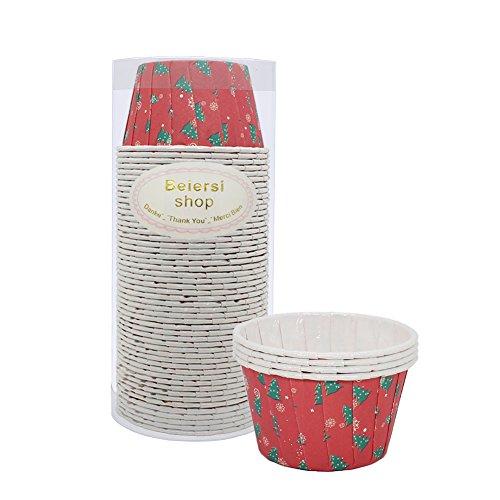 (Beiersi 50 Stücke Weihnachten Papierkuchen Liner Tasse Cupcake Muffin Backen Baking Cup (Stil 2))