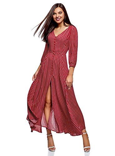 oodji Ultra Damen Maxi-Kleid mit Knöpfen, Rot, DE 36 / EU 38 / S
