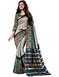 Tagline Women's Cotton Saree With Blouse Piece (Tag30044 ,Grey,Free Size)
