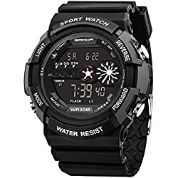 HUKOER 2016 New Fashionable Outdoor Sports Digital Watch Waterproof Multifunctional Noctilucent Electronic Watch for Men