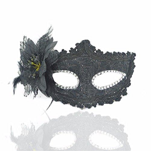 ParttYMask Maskerade,Halloween Maske Make-up Tanz Seite mit Blume Stoffmaske schwarz Masquerade