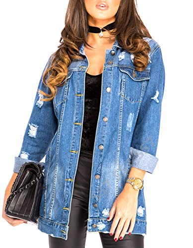 SS7 Women's Oversized Distressed Denim Jacket, Sizes 8 to 16