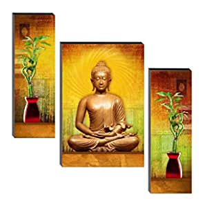 SND UV Textured Buddha MDF Water Proof Wall Art Wall Painting with Frame for Home Decoration (Multicolour, 12 X 4.5 inch, 12 X 9 inch, 12 X 4.5 inch), Set of 3