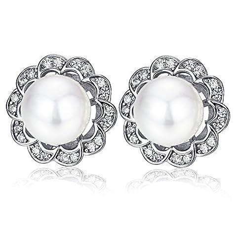F.ZENI Perle Ohrstecker Silber Damen 925 Sterling Silber Ohrringe Süßwasser Perle Zirkonia Blumen Ohrringe für Damen