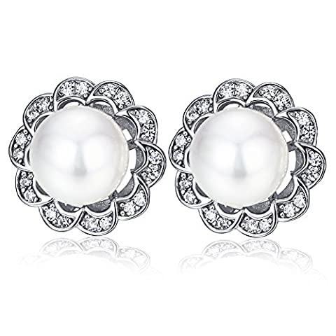 F.ZENI Perle Ohrringe Ohrringe Damen 925 Sterling Silber Süßwasser Perle Zirkonia Blumen Ohrringe für Damen