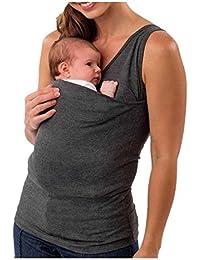 QinMM Camiseta Canguro para Padres, Chaleco Sin Mangas con Cuello Camisola Premamá y de Lactancia