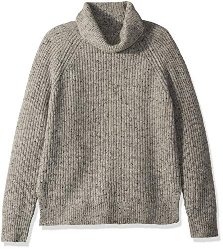 J.Crew Mercantile Damen Chunky Knit Turtleneck Sweater Pullover, Heather Light Grey Donegal, X-Klein - Chunky Wolle Pullover
