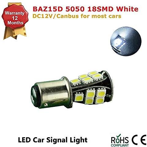 1Pcs LED Car Lights Bulb 1157 S25 Baz15d 18 SMD 5050 LED Backup Signal Blinker Tail Light BULBS 12V Replacement for Cars P21/5W-White