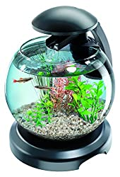 Tetra Cascade Globe Black, LED Filtered Glass Aquarium 6.8 Litre, For a Relaxing Effect at Home or at Work