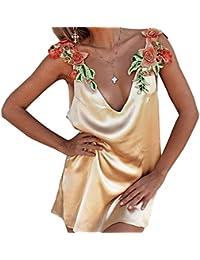 Mujer cuello V Rose bordado apliques sin mangas Tirantes Atractivo vestido nuevo Joven Moda Slim Vestido