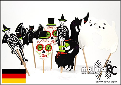 molinoRC | 10x Halloween Zahnstocher Grusel Party Cocktailfähnchen | Cocktailstäbchen Dekostecker | Sticker Picks | Häppchen Helloween Party | aus BRD
