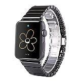 FOTOWELT für Apple Uhrenarmband, 42mm Luxus Keramik Armband Uhrenarmband Ersatz Armband für Apple Uhr Iwatch mit Adapter Schmetterling Verschluss-Schwarz