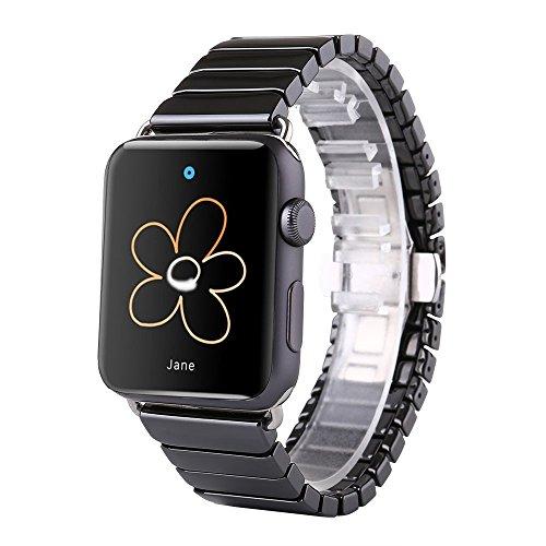 FOTOWELT für Apple Uhrenarmband, 38mm Luxus Keramik Armband Uhrenarmband Ersatzband Armband für Apple Uhr Iwatch mit Adapter Schmetterling Verschluss-Schwarz