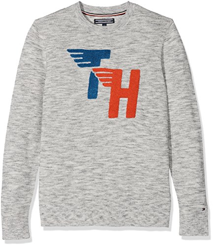 Tommy Hilfiger Jungen Pullover Ame Fun Towelling CN Sweater, Grau (Modern Grey Heather 060), 116