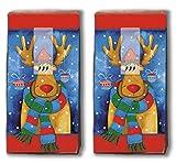 20 Taschentücher (2x 10) Taschentücher lustiger Elch/Rentier / Winter/Weihnachten