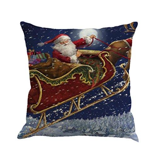 Cuscino di Christmas, Longra Buon Natale 45cmX45cm Babbo Natale stampato lenzuola Square Pillowcases (F)