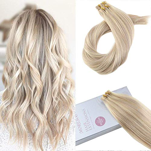 Moresoo 18 pollice extension capelli veri biadesivo 20 fasce adesive capelli colore biondo cenere highlighted with candeggina bionda 50g per pack tape in hair extensions 100% remy human hair