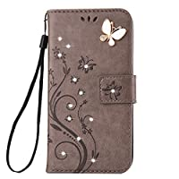 Galaxy J3 2017/J3 Prime Case [Free Tempered Glass Screen Protector],Mo-BeautyŽ Galaxy Floral [Embossed Butterfly Flower Pattern] Bling Diamonds Gems PU Leather Flip Wallet [with Card Slot and Strap] Case Cover For Samsung Galaxy J3 (2017 Version) (Gray)