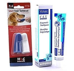 Virbac Dentifrice enzymatique (volaille Saveur 70g) avec Smart doigt Brosse à dents pour chiens (2Ensemble)