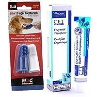 Pasta de dientes para perros enzimática Virbac (sabor a pollo, 70g) con cepillo de dientes para el dedo, paquete de dos, de Smart Bundles