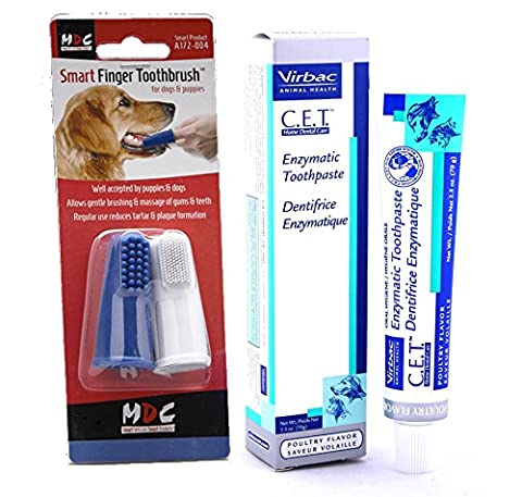Virbac Enzymatic Toothpaste (Poultry Flavour 70g) with Smart Finger Toothbrush for Dogs (twin-pack) Bundle