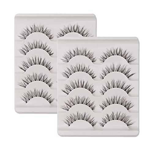 10 Paar Falsche Wimpern Natürlich Lange 3D 100 % Handgefertigte Künstliche Wimpern Verlängerung Schwarz (Wimpern-band)