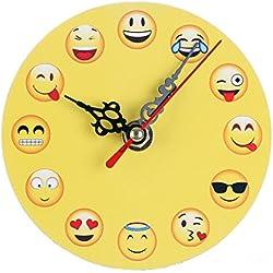 Exing–Reloj de Pared Radio Reloj de Pared, Netter Emoji de Madera Reloj de Pared Mode Antiguo Chic Retro Home Cocina Decoración, 4
