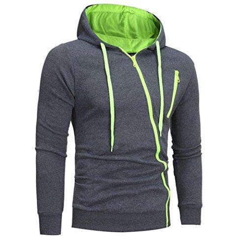 Sweatshirt Homme, Amlaiworld Capuche Manches Longues Sweat Capuche Manteau d'usure Tops Jacket (M, Vert)