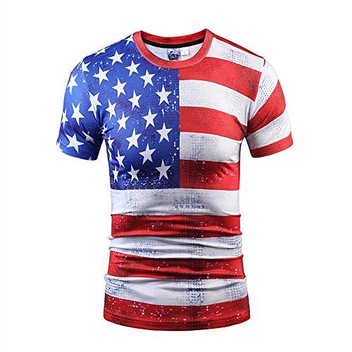 Yonbii Herren Unisex Rundhals Casual Strassenmode T-Shirt Tops-8