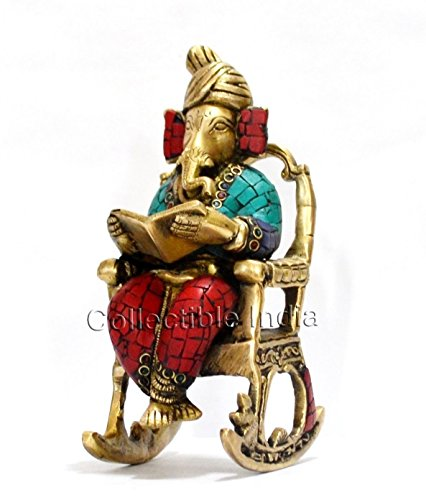 Collectible India Unique 3D Metal Brass Moving Ganesha Reading Ramayan for Garden Indoor Outdoor Decor Home & Living (Gold, Red) 51J3py sqML