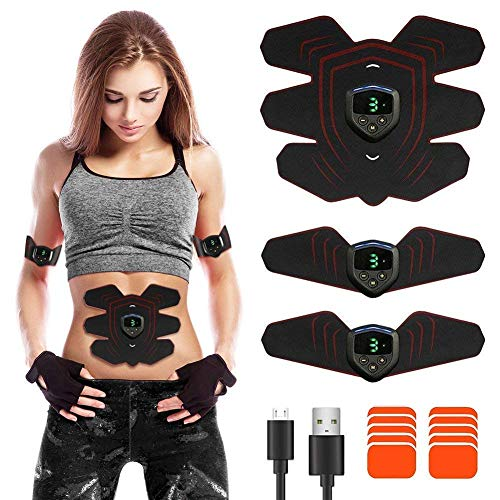 ABS-Trainer Fleischstimulator mit USB-Akku Wiederaufladbarer Ultimativer Bauchstimulator mit Rhythm Soft Impulse 6 Modi 9 Tragbarer Muskeltoner AB Body Fitness Toner für Männer und Frauen -