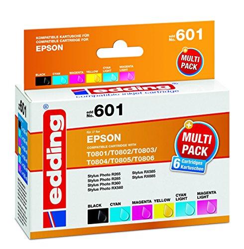 edding 18-601 Druckerpatrone EDD-601, CMYK und photo cyen und magenta, Ersetzt: Epson T0801-6 (Druckkopf Light Magenta)