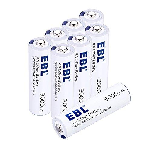 EBL 8 Unidades AA Litio Baterías 1.5V 3000mAh Metal de Litio Pila Alta Capacidad para los Equipos Domésticos(NO ES RECARGABLE)